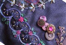 c'est fou! / crazy patch, broderie, broderie au ruban de soie, perles, embellissement