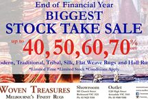 Biggest Rug Sale In Melbourne / Woven Treasures Rugs proudly launching biggest rug sale in Melbourne.It is end of financial year sale up to 40 to 70 percent sale on rugs and carpets.
