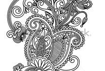 Ukrainian traditional style (Line Art, Ornatre Flower Design)