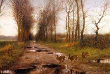 Peintre (Rien Poorvliet) néerlandais / Renard, lièvre, lapin, biche...