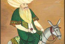 NASREDDİN HOCA☾☆ / Nasreddin Hoca (d. 1208 - ö. 1284, (Osmanlı Türkçesi : نصر الدين خواجه , Arapça : نصرالدین veya جحا, Farsça : ملا نصرالدین ) Orta Çağ döneminde Akşehir ve Konya'da, Selçuklu veya Osmanlı Devleti döneminde var olduğuna inanılan mizah figürü. Nasreddin Hoca, komik hikayeleri ve fıkralarıyla hatırlanan ve aynı zamanda popülist bir filozof olan bilgeydi. Kendisi çoğunlukla hazırcevaplılığı ile tanınır.Vikipedi, özgür ansiklopedi