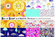 ::: Rain or Shine? ::: / Stephanie Thannhauser's second fabric collection for Dashwood Studio, Rain or Shine, is inspired by the Great British weather! Featuring playful raindrops, rainbows, umbrellas, sunshines and clouds, its vibrant palette is sure to brighten up any day – no matter what the weather.