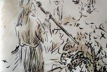 Evangile du jour illustré, Avril 2018, dessin au lavis de Jean-Joseph Chevalier