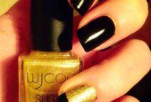 Unghie nere / Smalto nero con particolare oro sugar effect (wjcon) e french black!
