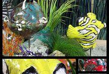 ART AQUARIUM / Raku Poisson - Hippocampe - crabe - coquillage