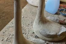 betonove kačky listy kvetinace