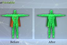Before & After / Images of #3D models before and after fixing them with MakePrintable