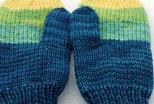 knit mittens and fingerless