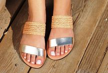 "Leather Handmade Sandals ""Samos"" col. Natural / Platinum / Knitted Tress"