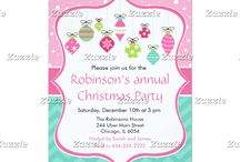 Pink and Green Christmas Ornaments Annual Party / This collection features cute hanging Christmas ornament in various shapes and sizes. The background consists of snow on a bright pink background, a pink ribbon and green chevrons.