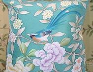 hand painted silk fabric / hand painted silk fabric such as cushion, curtain, screen