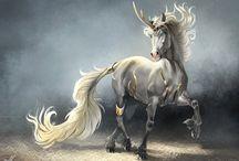 лошади, единороги, horses
