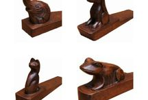 Animal Mahogany Door Wedges / Great for animal lovers, these solid wood door wedges are popular items we sell at Lock Stock and Barrel Furniture.