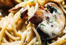 Mushrooms spaghetti