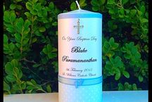 Christening Candles - Boys - Flickering Moments / Flickering Moments Candle & Gift Designs presents its collection of hand designed and decorated personalised candles & gifts. Our stunning candles are designed for all occasions. We source a variety of embellishments, decorative materials and accessories to accomplish a unique and gorgeous candle.