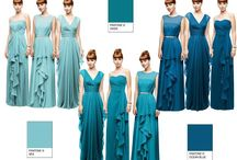 bridesmaids dresses / Variety of blue shades for bridesmaids dresses