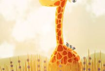 Giraffes / Beautiful, graceful giraffe photography and cute cartoony- artwork. Nursery themes for boys and girls. I love giraffes! They are so gentle.
