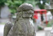Guardian lion-dog at Shinto shrine