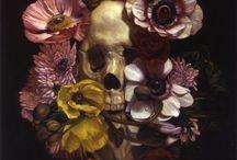Skulls in still life - vanitas / also memento mori art