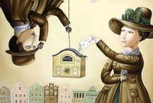 Анжела Джерих / Вместе с картинами художницы Анжелы Джерих вполне можно совершить путешествие в советское прошлое. И любому будет без слов понятна символичная атрибутика ее полотен, в которых главенствует вечная тема любви и человеческих взаимоотношений, выраженная с тонким юмором и легкой ностальгией по ушедшей эпохе.  http://anqil.arts.in.ua/