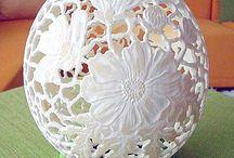 carved ostrich eggs - european egg art / carved ostrich eggs - jajka strusie rzeźnbione ręcznie przez BJGoleń