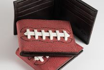 Football Wallet / FootBall followers here is your chance to get a real leather wallet made with real football leather. If you could get your hands on a pro football, deflate it, (LOL) add pockets for your cash and cards. Our patent pending football wallets are made with authentic football leather and stitched with the same synthetic, extruded lace used in game balls. The inside is made from brown, split leather and has 8 pockets for your credit cards and driver's license.  see baseballgifts4sale.com to purchase