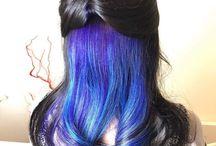 Peek a boo oil slick hair