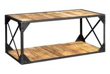 Ascot Industrial Style Furniture / Hand built in India from salvaged metals and timbers, this re-cycled contemporary warehouse genre of furniture features a robust, black metal, framework along with the natural charm of solid re-cycled timbers.