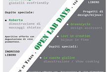 """OpenlabDay / In collaborazione con Jenia Design, Lost in creation e Fashion & Veg: Greencycle presenta gli OpenlabDays!  Una serie di appuntamenti per conoscere la storia, l'impegno e le realizzazioni di tre progetti di design e creatività """"made in Torino"""".  Apriamo il nostro spazio di lavoro per raccontarvi il nostro modo di interpretare i materiali, le forme, gli accessori, i gioielli. Non perdete la prima data:  12 Novembre 2014 - dalle ore 18"""
