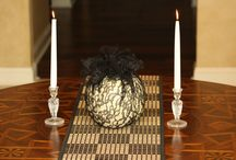halloween ideas / with spray paint and glitter from Target. and a few other inexpensive artists, create  fashionable centerpieces that celebrate texture and color