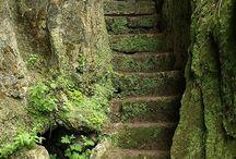 Stairways,  arches,  medieval architecture