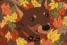 Honden en Poezen met kleurvoorbeelden