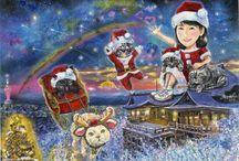 吉岡里帆姫と愛猫イラストin 京都