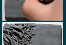 texturas, carimbos, alto relevo