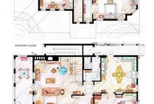 floor plans of TV / movie apartments