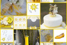 Yellow, grey wedding ideas