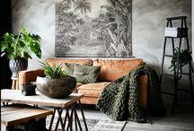 Grey walls - dark brown sofa
