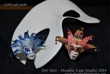 Masks in Miniature / 1:12th scale masks made with paper and Creative Paperclay