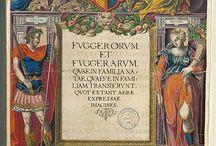 Estampes de la famille Fugger / Tout au long du XVe et XVIe siècle, la Famille Fugger d'Augsbourg est devenue une des plus puissantes dynasties marchandes d'Europe. Elle a remplacé la Famille de Médicis, La série d'images représente une sélection de la Fuggerorum et Fuggerarum. Quae en familia Natae... une édition limitée de gravures en couleurs très élaborées, publiée exclusivement en 1593 et 1618. Le travail a été commandé par Philipp Eduard Fugger et réalisé en grande partie par le graveur Augsburg Dominicus Custos.