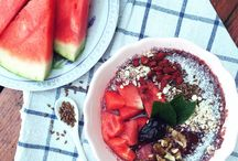 Summer refreshment / Acai bowl with watermelon and coconut,chia seeds