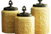 Ceramic canister & honey jar & jug