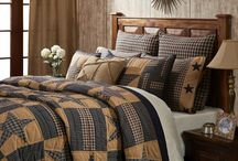 Teton Star Quilted Bedding Collection / Teton Star is new for Spring 2015 from VHC Brands Ashton & Willow Collection. It features a beautiful navy and khaki color scheme in a stars and bars patchwork quilted pattern. Shop for it now at Beth's Country Primitive Home Decor (http://www.bethscountryprimitivehomedecor.com).