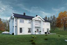 """Systemhus Bellevue / Enebolig """"Bellevue"""" fra Systemhus - kataloghus - ferdighus. Herskapelig hus, eneboliger, funksjonell bolig, ferdighus, stue, kjøkken"""