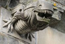 Gargoyle and grotesque / Grotesques are often confused with gargoyles, but the distinction is that gargoyles are figures that contain a water spout through the mouth, while grotesques do not. This type of sculpture is also called a chimera.