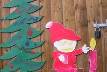 Nisser på Amagerskolens Ude-SFO. / Vi har ud skåret nisser i krydsfiner og børnene har malet dem.