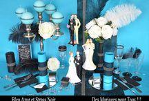 Thème cabaret bleu / Une décoration de table très élégante et raffinée. Elle est aussi très originale avec le bleu turquoise profond et les strass éclatants. Une décoration de table à oser de toute urgence !