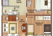 Plantas de casas/Apês pequenas / Plantas de casas e apartamentos pequenos, mas bem elaborados e aconchegantes.♡♥ Aproveitando cada espaço. ★☆
