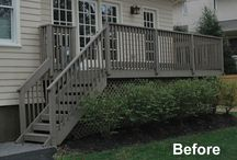 Montclair Contemporary Deck. / Contemporary deck design with lighting and plantings