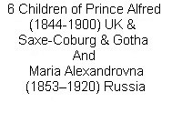 "6 Children Prince Alfred UK & Maria Alexandrovna Russia / Boards follow for each of the 6 children of Prince Alfred (Alfred Ernest Albert) (1844-1900) Duke of Edinburgh, UK & of Saxe-Coburg & Gotha, Germany & wife Maria Alexandrovna (1853-1920) Russia. Children: Alfred ""Affie"" (1874-1899), Marie ""Missy"" (1875-1938), Victoria Melita ""Ducky"" (1878-1942), Alexandra ""Sandra"" (1878-1942), Stillborn Son (1879-1879) & Beatrice ""Baby Bee"" (1884-1966)."