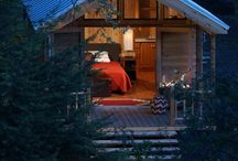 cabin in the woods / A cabin should be a retreat. When you slip into a bed that is comfy and inviting, your stress just seems to disappear, when you sit on a porch to view nature at it's finest, it's amazing how your cares and woes seem to melt away.